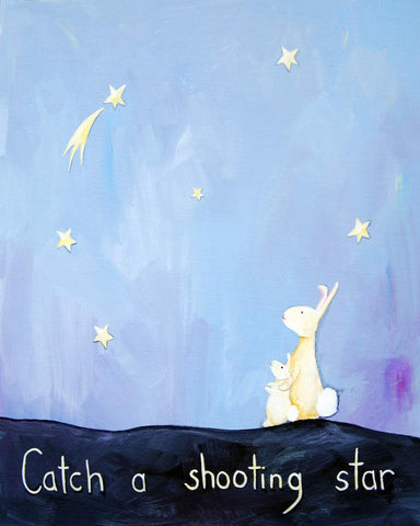 Catch a Shooting Star  - Baby Nursery Quote Art - Bunny Wall Decor for Baby