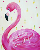 Hello Beautiful Flamingo art card by Cici Art Factory