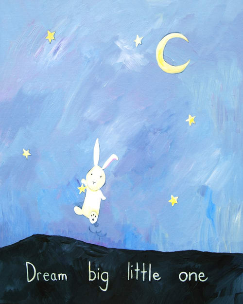 Dream Big Little One - Baby Nursery Quote Art - Bunny Wall Decor for Baby