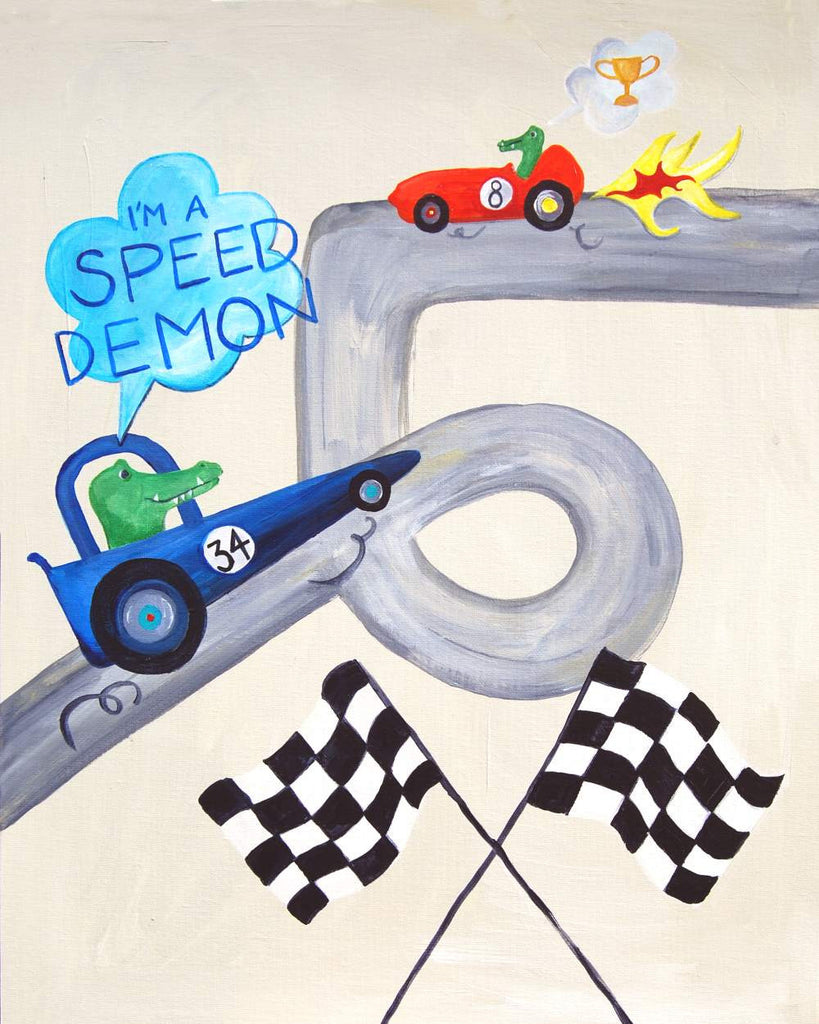 I'm a speed demon - Baby Nursery Quote Art - Bunny Wall Decor for Baby