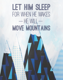 Let Him Sleep for when he wakes He'll Move Mountains mini card by Cici Art Factory