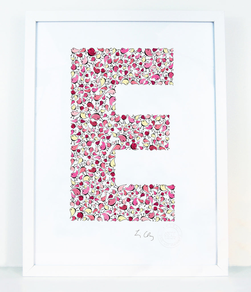 alphabet art for nursery - letter art for kids - letter E