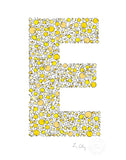 alphabet art for nursery - letter art for kids - yellow chicks letter E