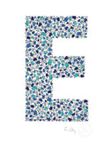 alphabet art for nursery - letter art for kids - blue penguin letter E
