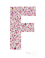 alphabet art for nursery - letter art for kids - pink birds letter F