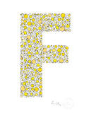 alphabet art for nursery - letter art for kids - yellow chicks letter F