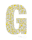 alphabet art for nursery - letter art for kids - yellow chicks letter G
