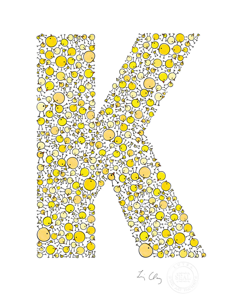 name prints for nursery - letter art for kids - letter K
