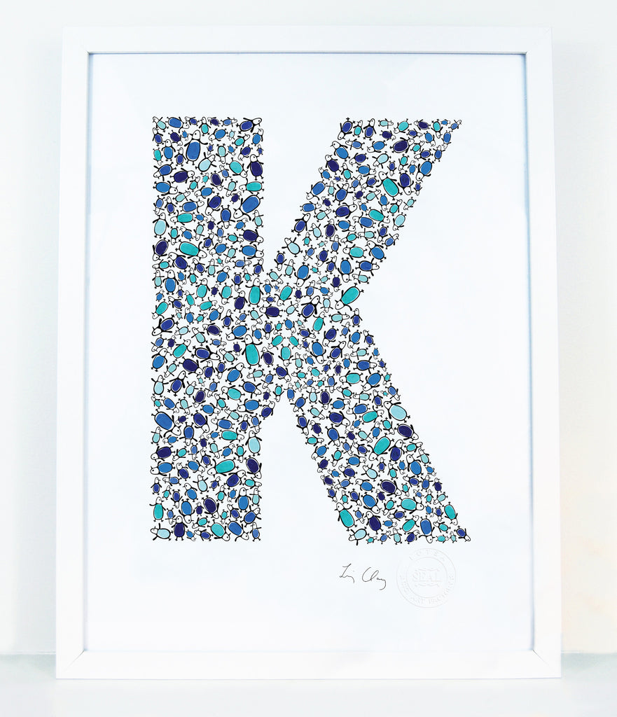 alphabet art for nursery - letter art for kids - letter K