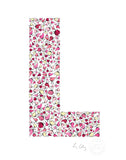alphabet art for nursery - letter art for kids - pink birds letter L