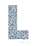 alphabet art for nursery - letter art for kids - blue penguin letter L