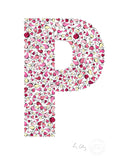 alphabet art for nursery - letter art for kids - pink birds letter P