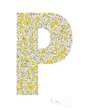 alphabet art for nursery - letter art for kids - yellow chicks letter P