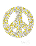 alphabet art for nursery - letter art for kids - yellow chicks letter peace