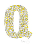 alphabet art for nursery - letter art for kids - yellow chicks letter Q