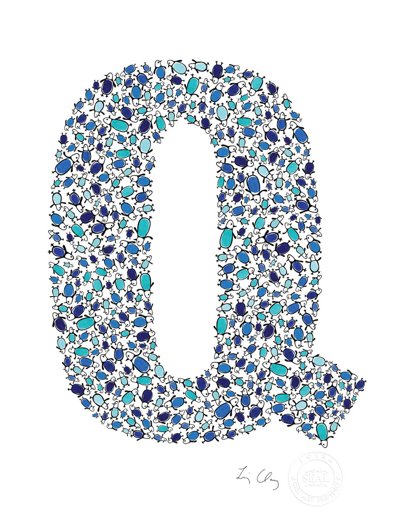 alphabet art for nursery - letter art for kids - blue penguin letter Q