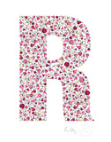 alphabet art for nursery - letter art for kids - pink birds letter R