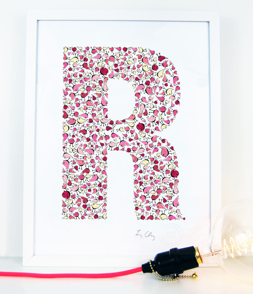 alphabet art for nursery - letter art for kids - letter R