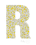 alphabet art for nursery - letter art for kids - yellow chicks letter R