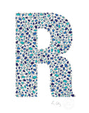 alphabet art for nursery - letter art for kids - blue penguin letter R