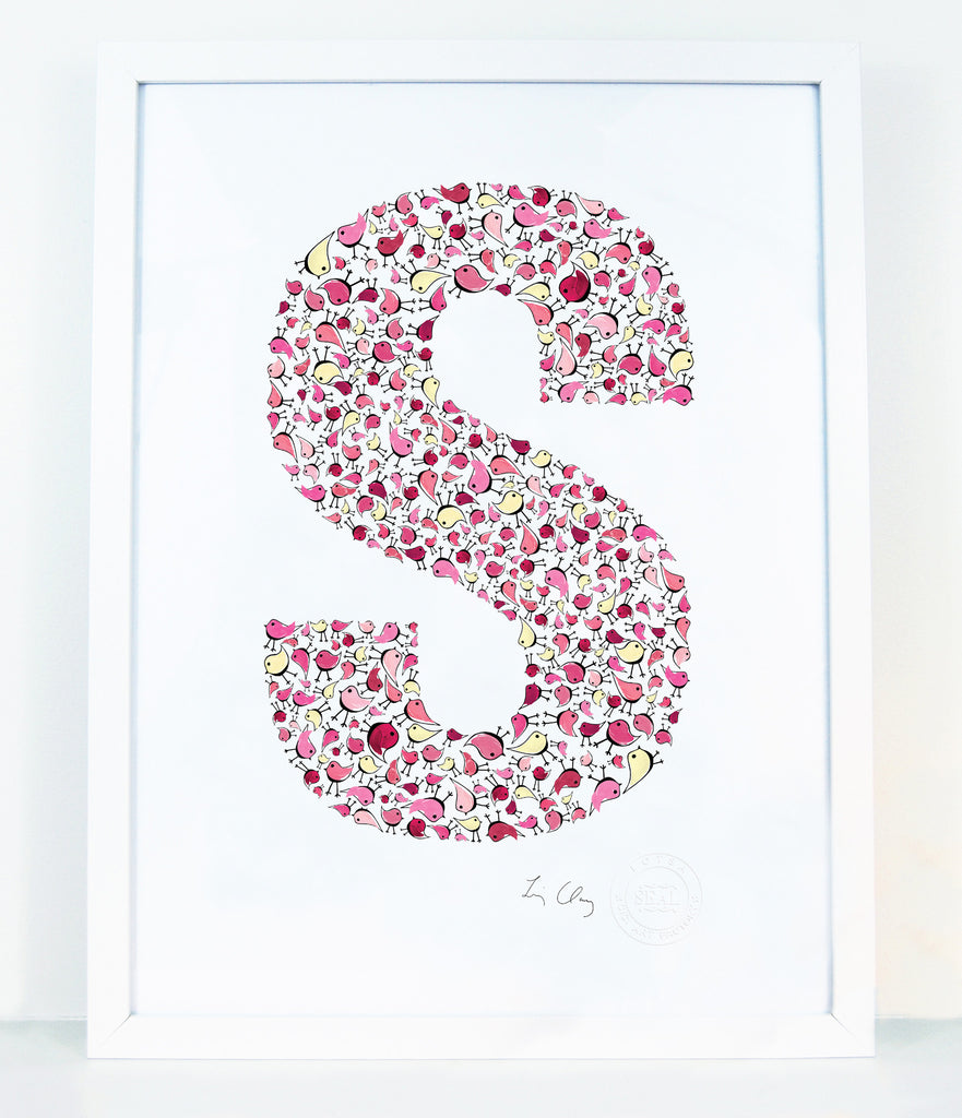 alphabet art for nursery - letter art for kids - letter S