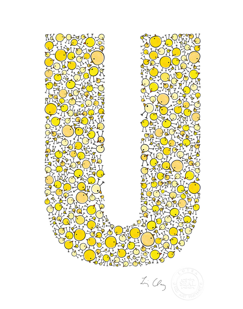 alphabet art for nursery - letter art for kids - yellow chicks letter U