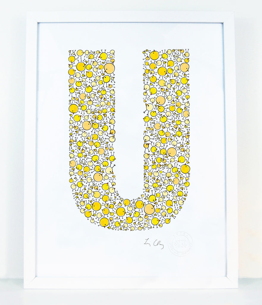 alphabet art for nursery - letter art for kids - letter U