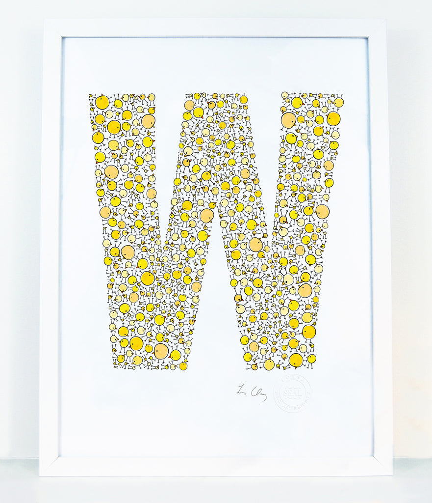 alphabet art for nursery - letter art for kids - letter W