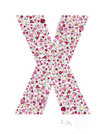 alphabet art for nursery - letter art for kids - pink birds letter X