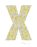 alphabet art for nursery - letter art for kids - yellow chicks letter X
