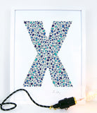alphabet art for nursery - letter art for kids - letter X
