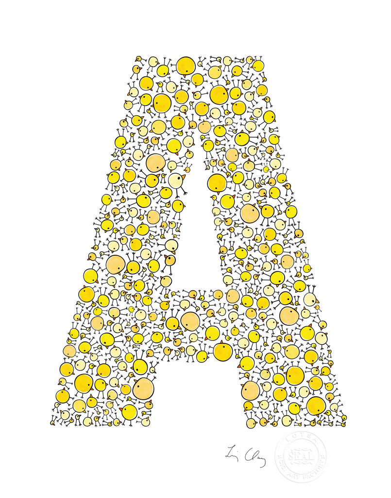 alphabet art for nursery - letter art for kids - yellow chicks letter A
