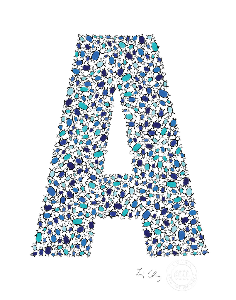 alphabet art for nursery - letter art for kids - blue penguin letter A