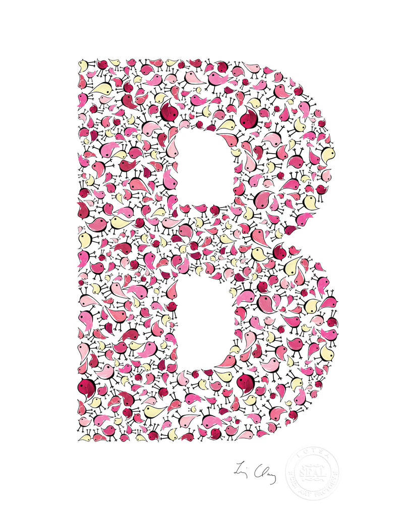 alphabet art for nursery - letter art for kids - pink birds letter  B