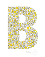 alphabet art for nursery - letter art for kids - yellow chicks letter B