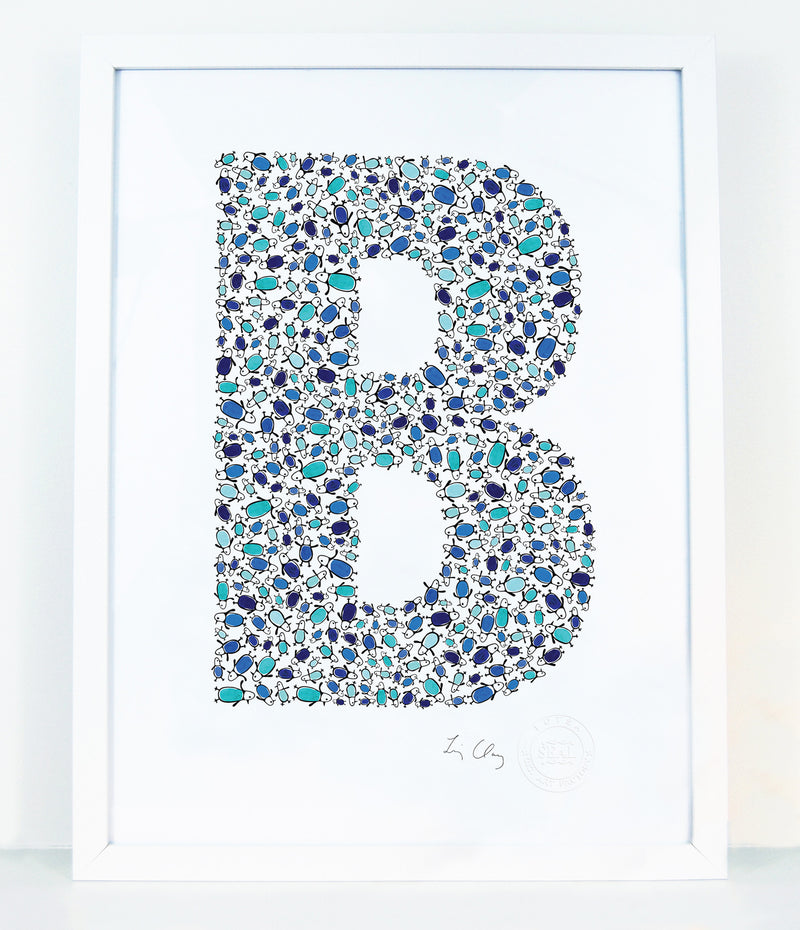 alphabet art for nursery - letter art for kids - letter B