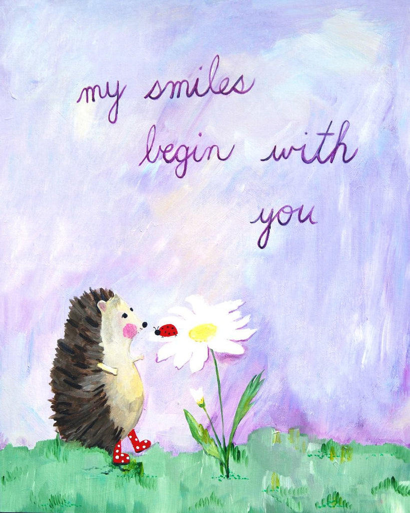 My smiles begin with you - Baby Nursery Quote Art - Bunny Wall Decor for Baby