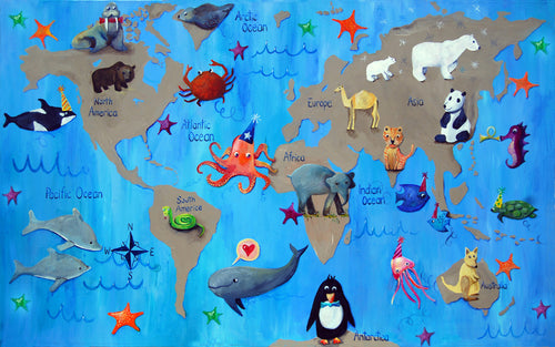 Map of the world with animals for children