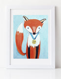 Fox art prints for baby nursery