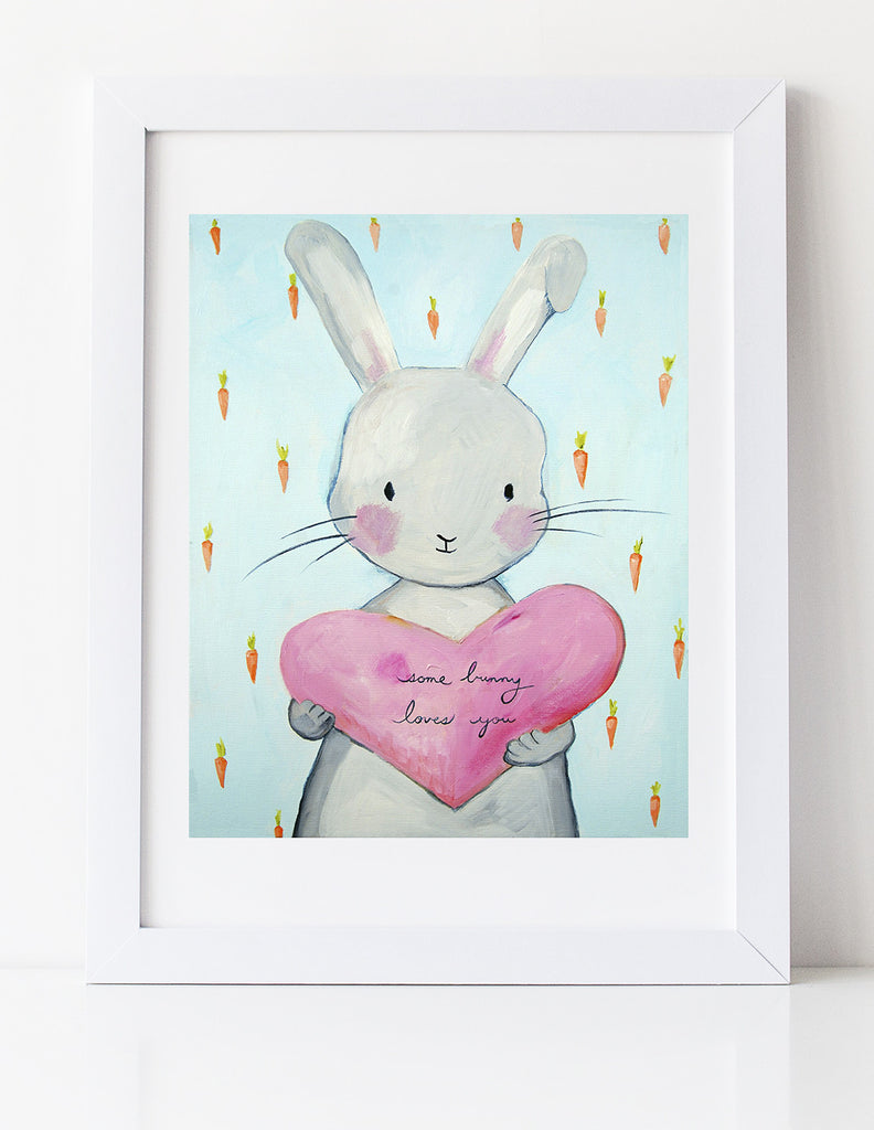 Bunny Nursery art print by Cici Art Factory - Some Bunny Loves You