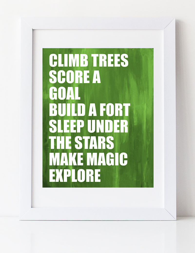 Climb Trees art print for boys by Cici Art Factory