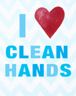 Kids Bathroom Art Prints by Cici Art Factory - I heart clean hands