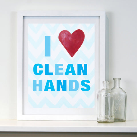 Kids Bathroom Decor by Cici Art Factory - I heart clean hands