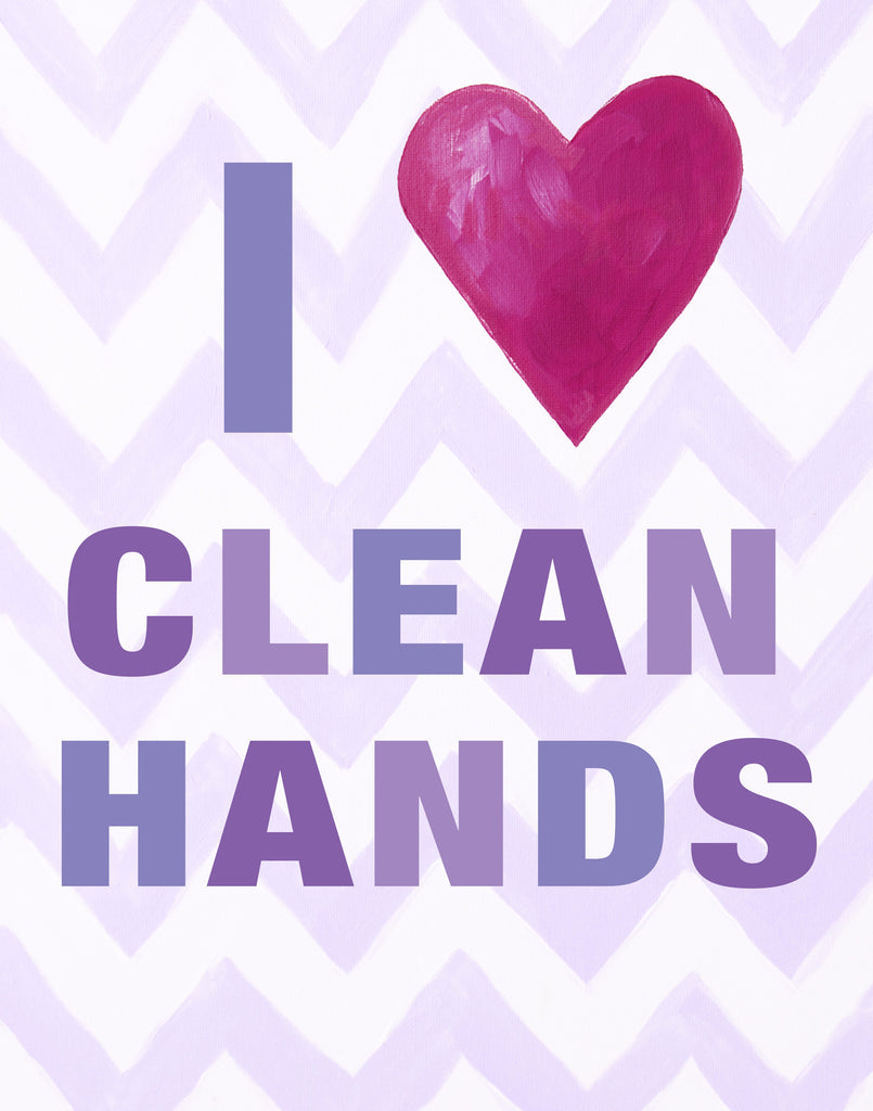 Kids Bathroom Art Prints by Cici Art Factory  -  I heart Clean Hands - LilacPaper