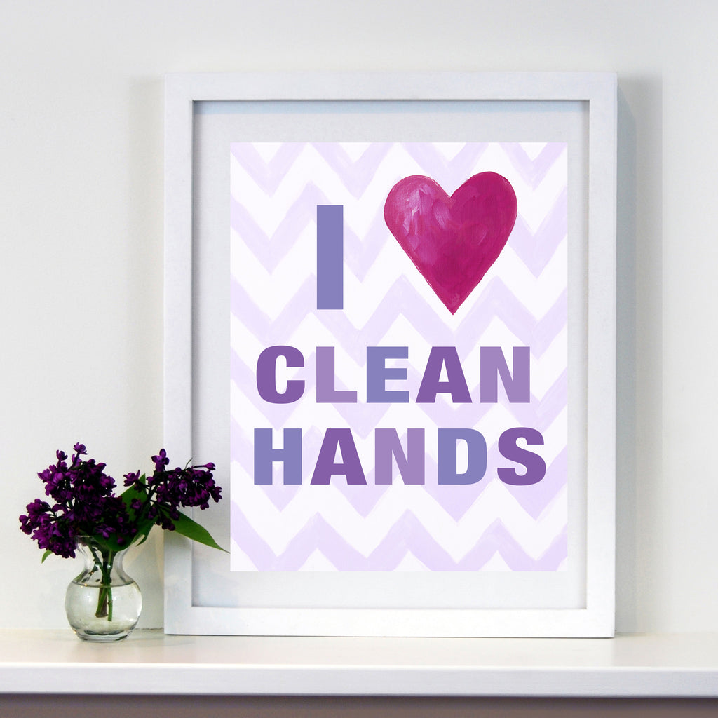 Kids Bathroom Decor by Cici Art Factory - I heart Clean Hands - LilacPaper