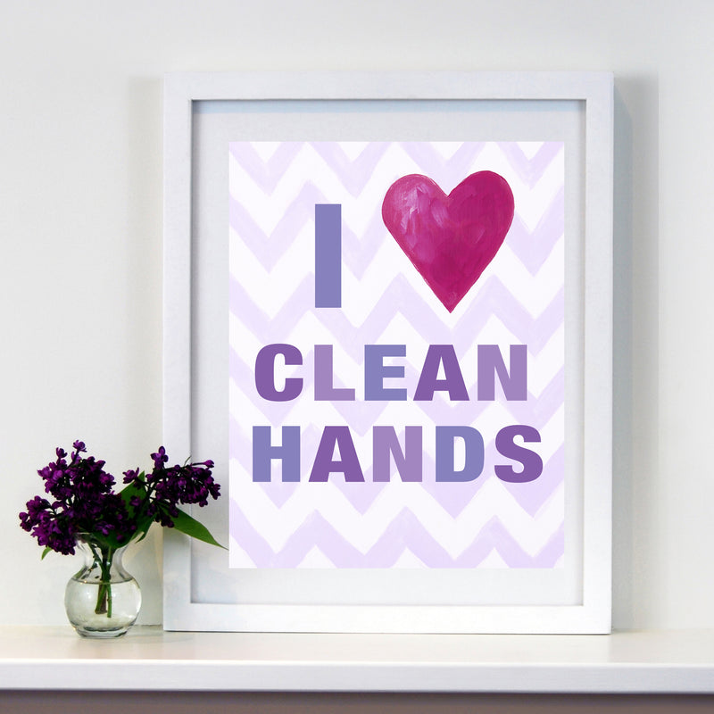 Girls Bathroom Decor by Cici Art Factory - I heart clean hands