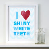 BOYS Bathroom Decor by Cici Art Factory -  I heart Shiny White Teeth