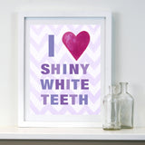 Kids Bathroom Decor by Cici Art Factory -  I heart Shiny White Teeth - Lilac