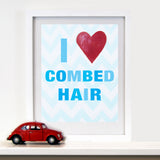 Kids Bathroom Decor by Cici Art Factory - I heart Combed Hair
