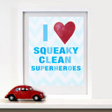 Kids Bathroom Decor by Cici Art Factory - I heart Squeaky Clean Superheroes